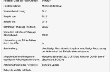 Zwangsrückruf (Rückrufaktion 5496127) für Mercedes-Benz GLK am 02.08.2019 duch das KBA angeordnet