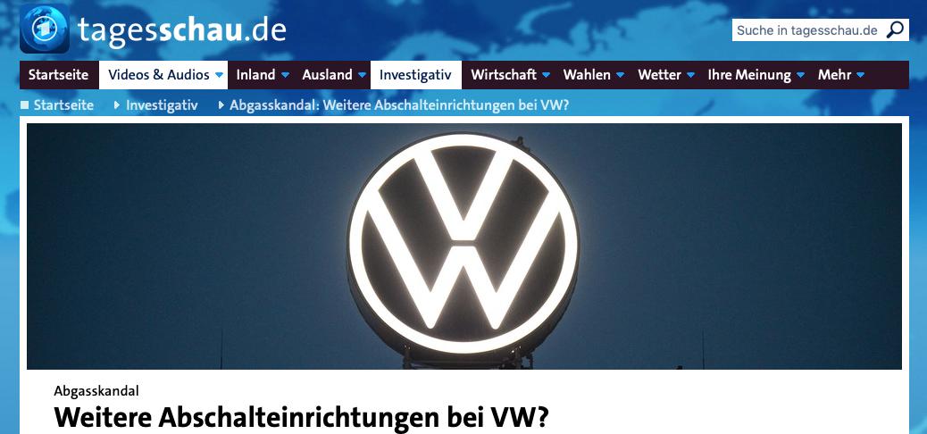 Tagesschau zitiert Partner der Kanzlei Baier Depner und berichtet über weitere Abschalteinrichtungen in anderen Motoren bei Volkswagen.