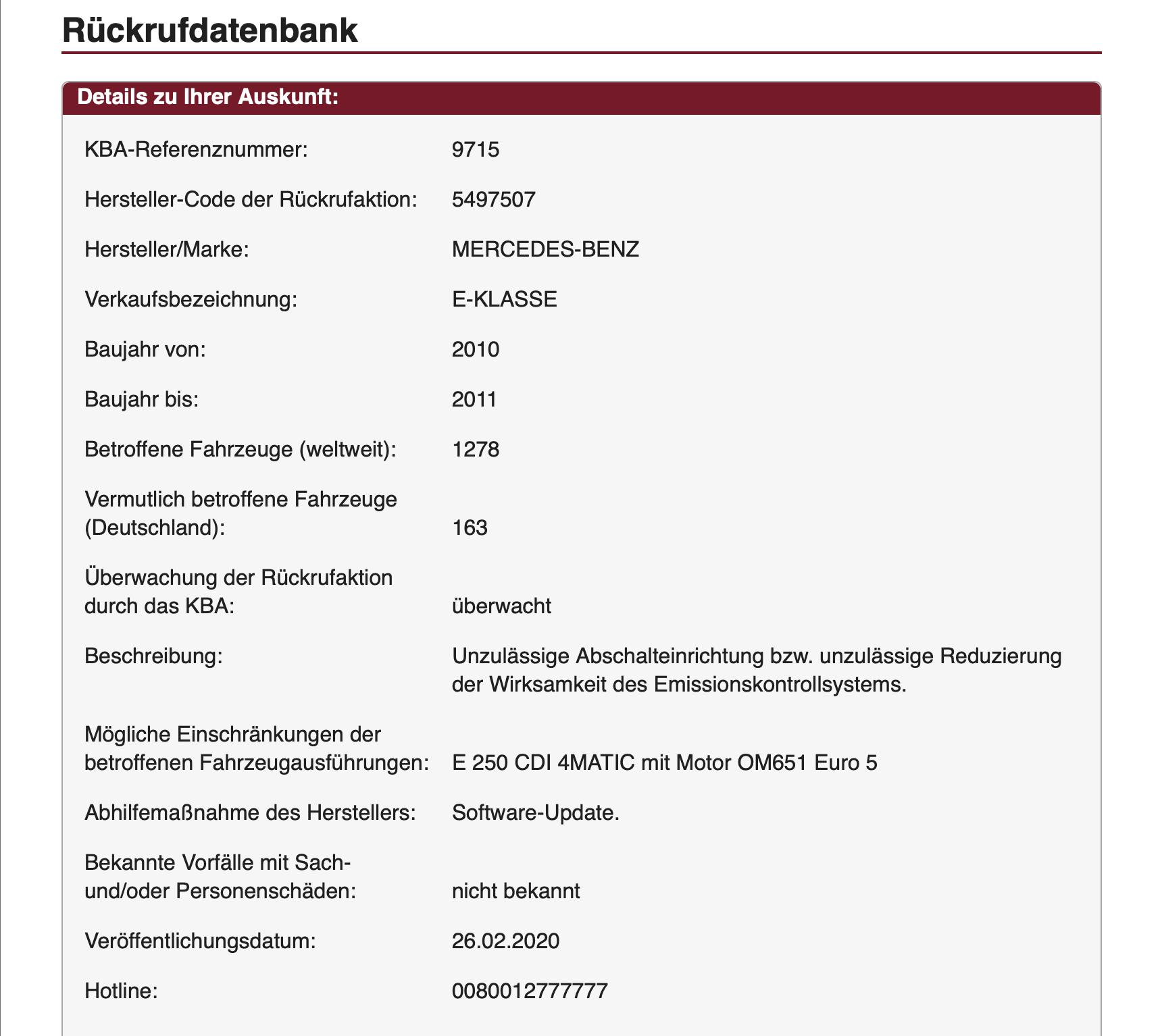 Abgasskandal Daimler: Rückruf 9715 Mercedes Benz E-Klasse Servicemaßnahme 5497507