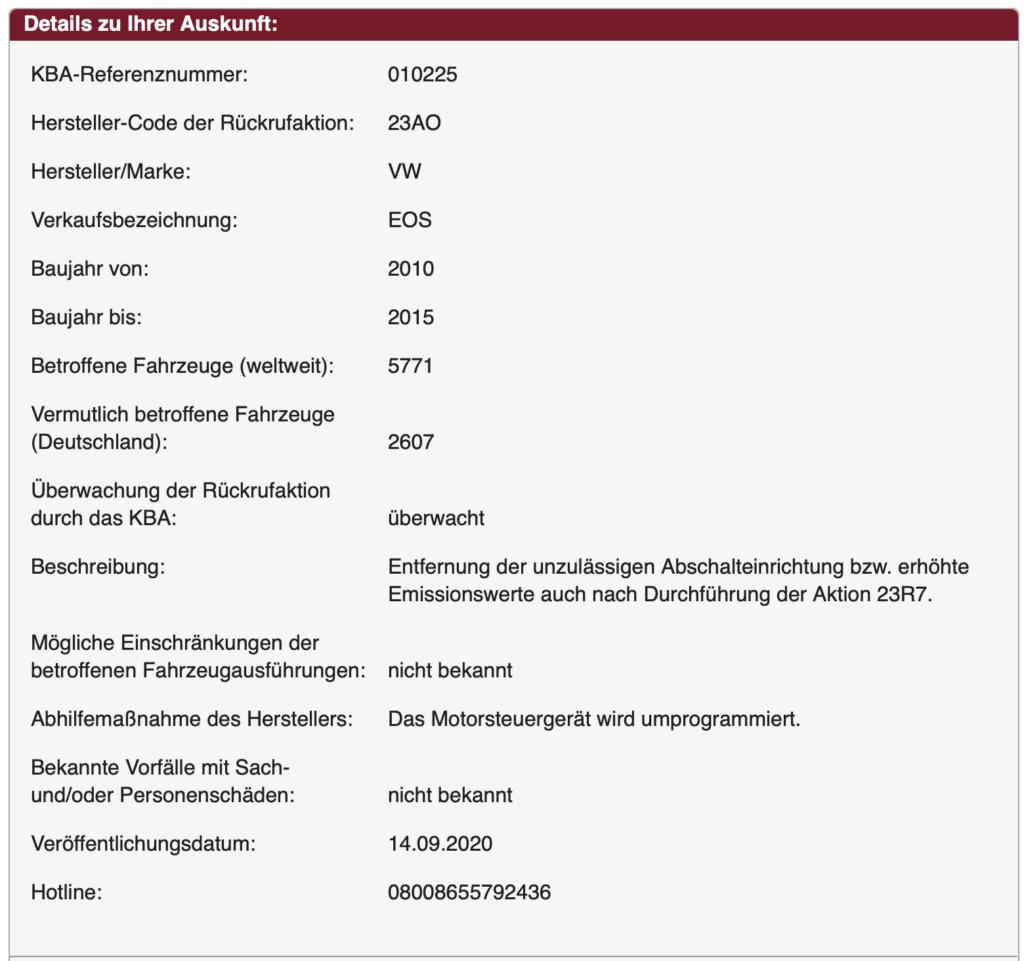 Pflichtrückruf VW EOS